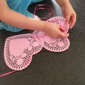 Stringing Heart Doilies