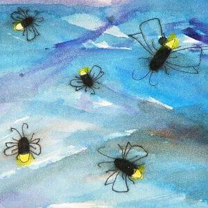 Crayon Relief Fireflies