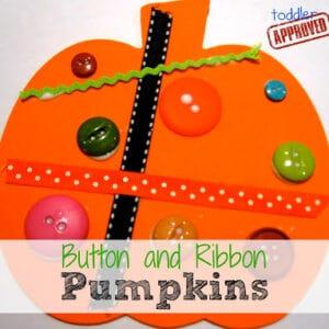 Button and Ribbon Pumpkins