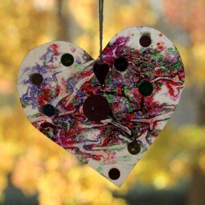 Crayon Button Heart Ornaments