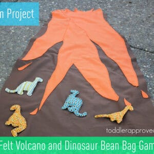 Mom Project: Felt Volcano and Dinosaur Bean Bag Game