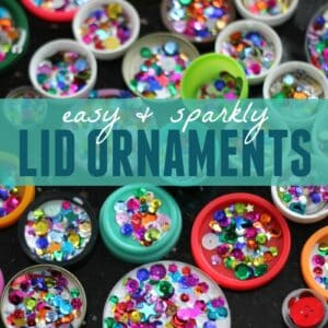 Easy Sparkly Lid Christmas Tree Ornaments