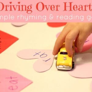 Driving Over Hearts {A Simple Rhyming and Reading Game}