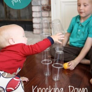 Knocking Down Cup Towers {Baby Playtime}