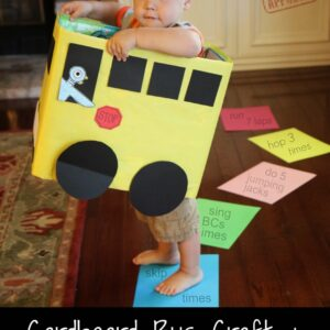 Cardboard Box Bus Craft & Number Game for Kids {Mo Willems Virtual Book Club for Kids}