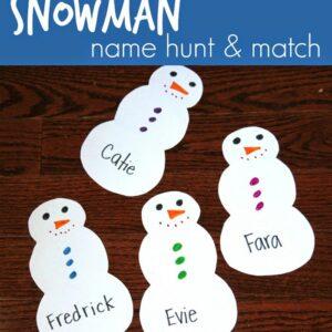 Snowman Name Hunt & Match for Preschoolers