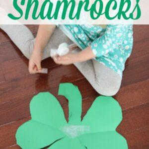 Easy Preschool Cutting Craft: Heart Shamrocks