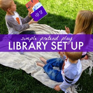 Simple Pretend Play Library Set Up for Kids