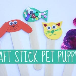 Craft Stick Pet Puppets for Kids