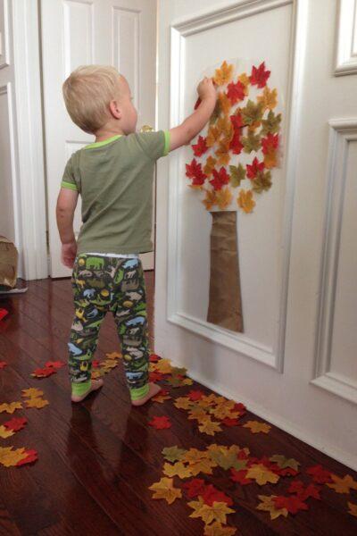 sticky Fall tree sensory plan
