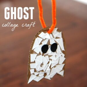 Ghost Paper Scrap Craft for Preschoolers