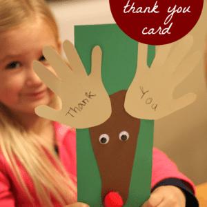 Handprint and Footprint Reindeer Thank You Cards