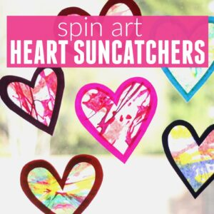 Spin Art Heart Suncatchers