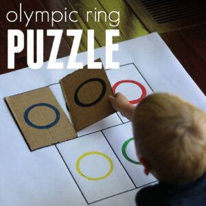 Easy Cardboard Olympic Ring Puzzle for Toddlers