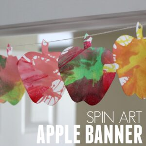 Colorful Spin Art Apple Banner for Kids