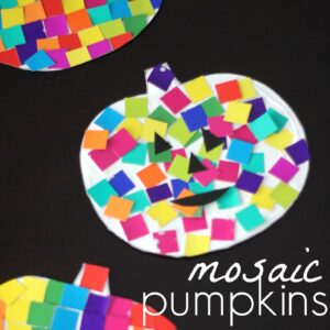 Easy Colorful Mosaic Pumpkins for Kids