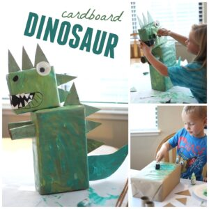 Collaborative Cardboard Dinosaur Art