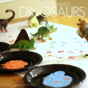 Painting with Toy Dinosaurs