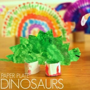 Colorful Paper Plate Dinosaurs for Kids