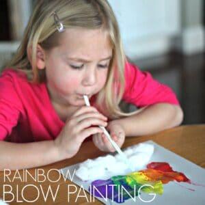 STEAM Challenge: Little Cloud & Rainbow Blow Painting