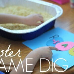 Easter Themed Name Sensory Dig for Preschoolers