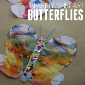 Easy Sparkly Spin Art Butterflies
