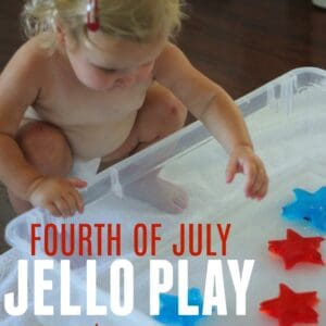 Fourth of July Jello Play for Toddlers