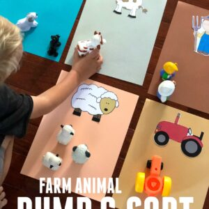 Easy Farm Animal Dump and Sort for Toddlers