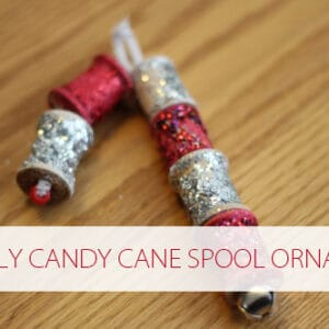 Sparkly Candy Cane Spool Ornament
