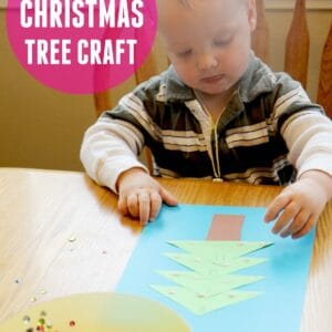 Sparkly Name Christmas Tree Craft for Kids