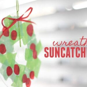 Simple Christmas Wreath Suncatcher for Kids