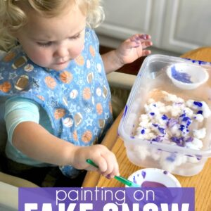 Painting on Fake Snow with Toddlers and Preschoolers