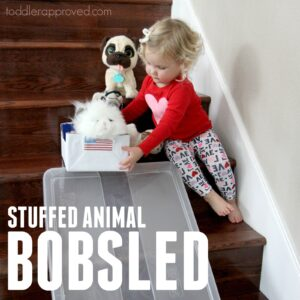 Easy Stuffed Animal Bobsled Races for Toddlers