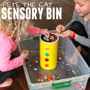Easy Pete the Cat Button Sensory Bin
