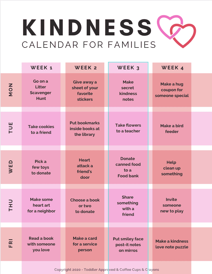 Printable Kindness Calendar for Families - Toddler Approved