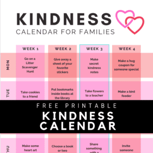 Printable Kindness Calendar for Families
