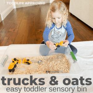 Trucks and Oats Toddler Sensory Bin