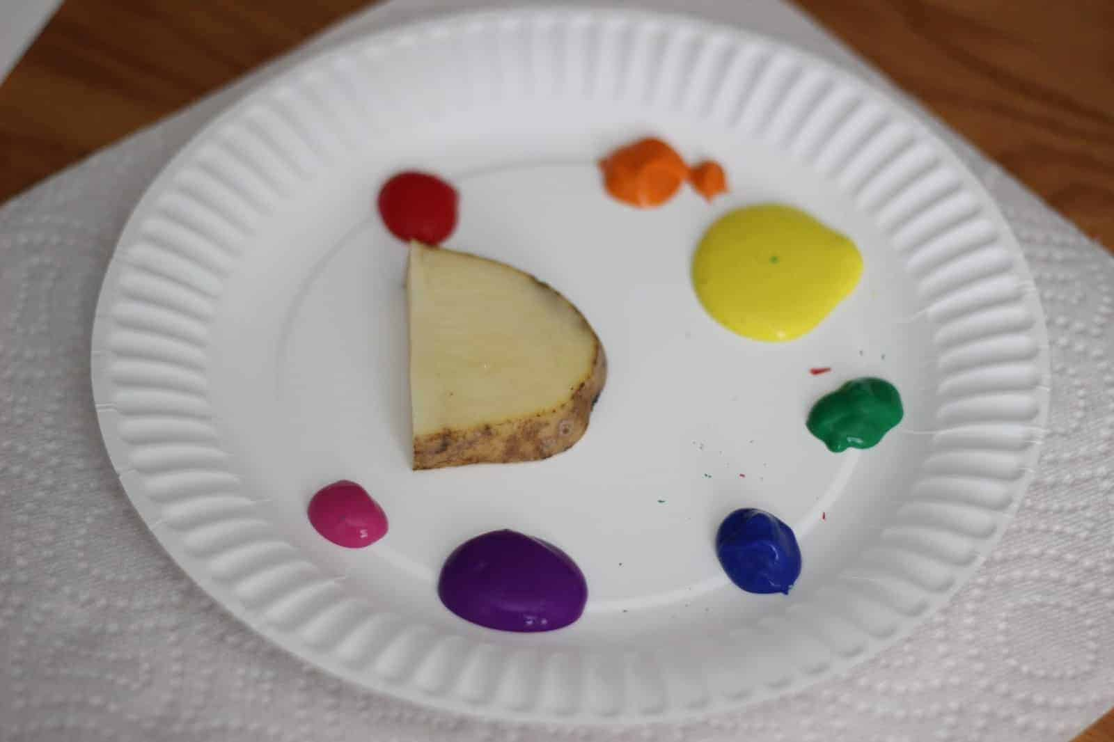 How To Make Potato Stamp Rainbows Toddler Approved