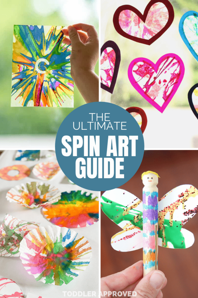 salad spinner art activities using paper, hearts, and coffee filters