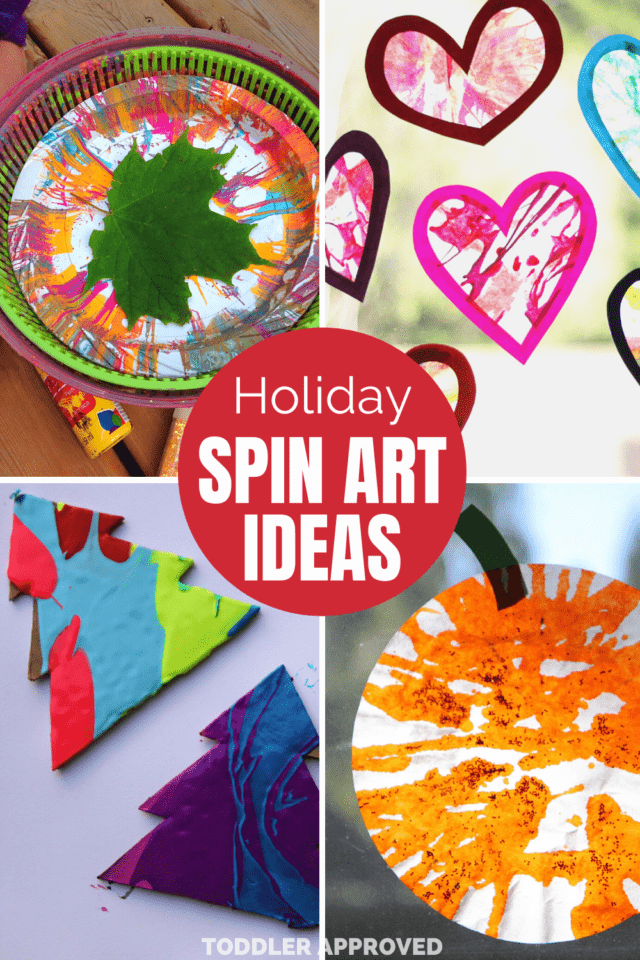 Holiday spin art ideas using leaves, trees, pumpkins, and hearts
