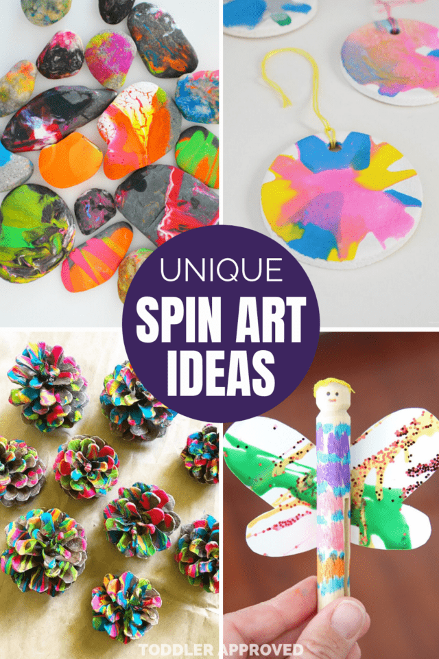 unique salad spinner art projects using pinecones, rocks, sald dough, and clothespins