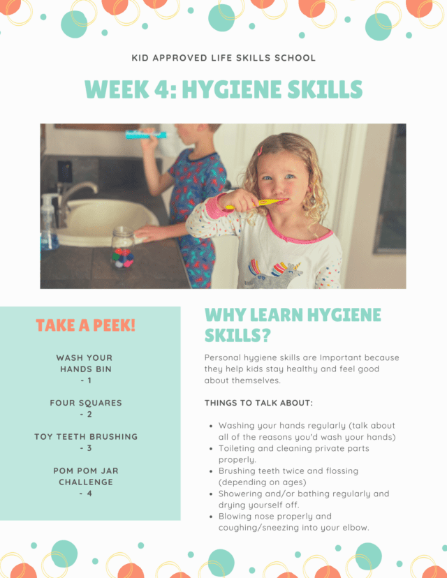 hygiene skills activity plan for kids with photo of little girl brushing her teeth