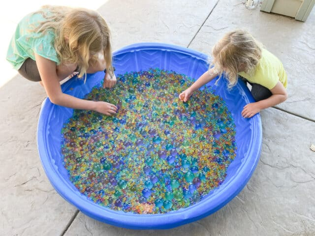 water beads in a baby pool