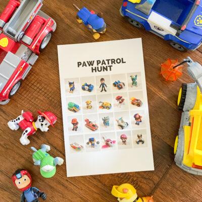 Paw Patrol scavenger hunt page for kids