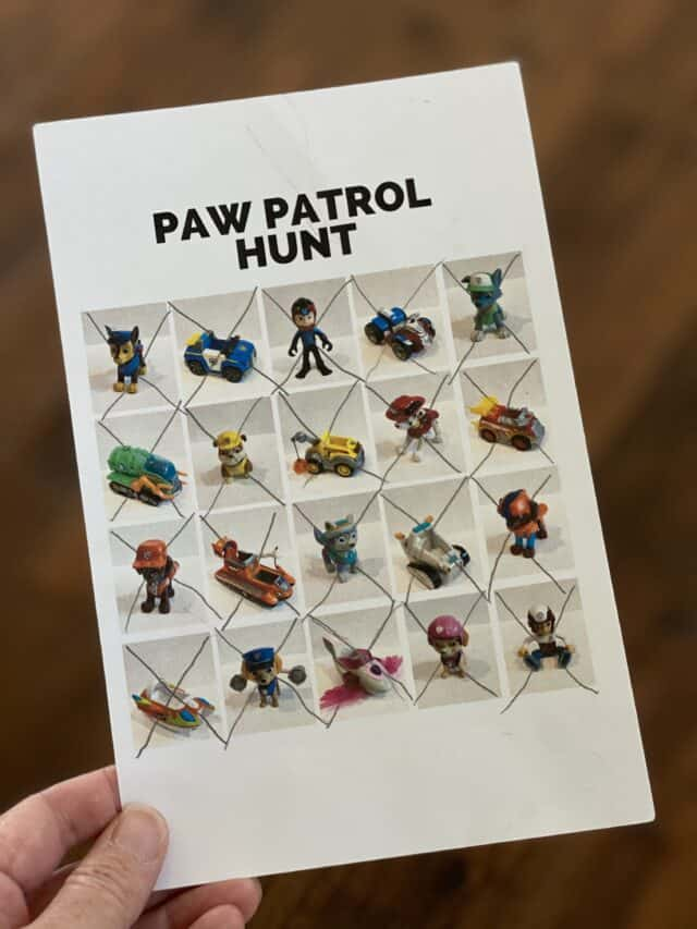 hand holding a Paw Patrol scavenger hunt card with all the squares Xed out
