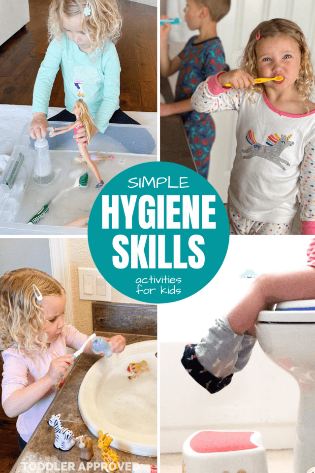 hygiene skills for kids- kids was brushing teeth, washing hands, playing with toys in a sink and brushing their teeth
