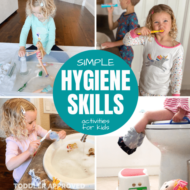 kids washing their hands, brushing their teeth, going potty, and doing washing hands play activities