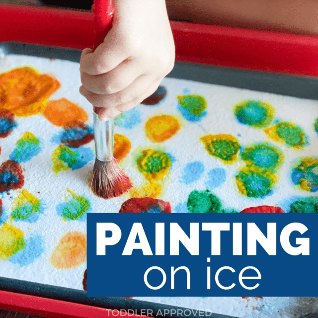 colorful paint on ice activity for kids