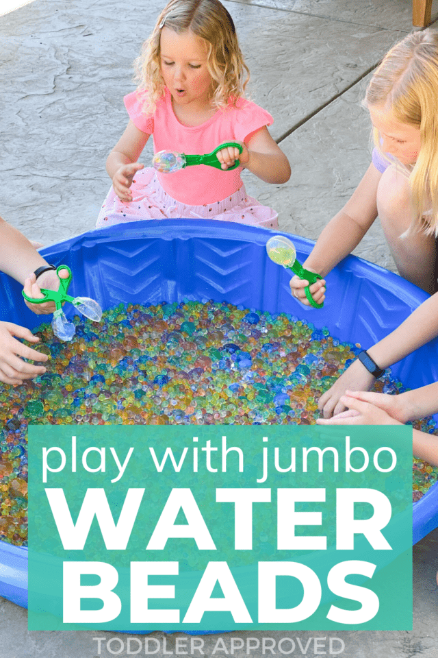 water bead play in a kiddie pool