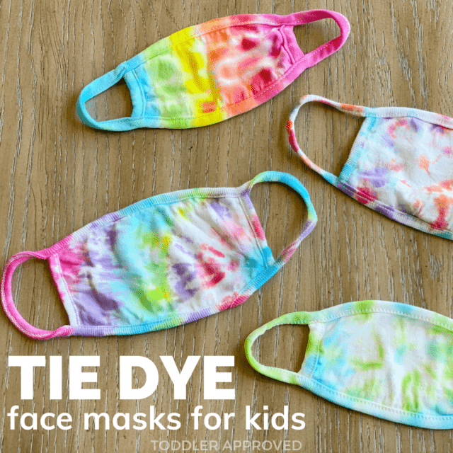 colorful tie dyed face masks for kids